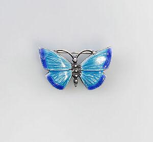 925er-Argent-emaille-Broche-Papillon-Art-Nouveau-Art-bleu-a6-01291