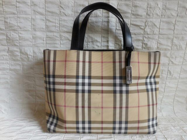 f5966962a7f Authentic BURBERRY LONDON Nova Check PVC Canvas Leather Beige Tote Handbag