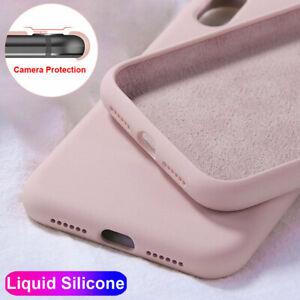 Para-iPhone-6s-7-8-Plus-XS-Max-XR-11-Pro-Max-SE-delgada-X-Funda-Cubierta-de-silicona-liquida