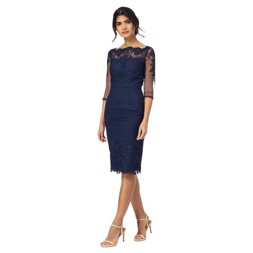 Chi Chi London Floral Lace Embroiderot Sleeves Scalloped Dress 8 1012 14 16 Navy