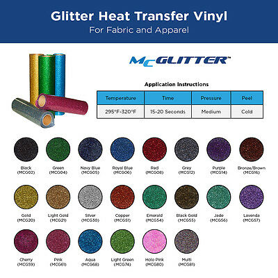 "Glitter IRON-ON Heat Transfer Vinyl For Fabric: 20"" x 1 Yard Glitter Roll"