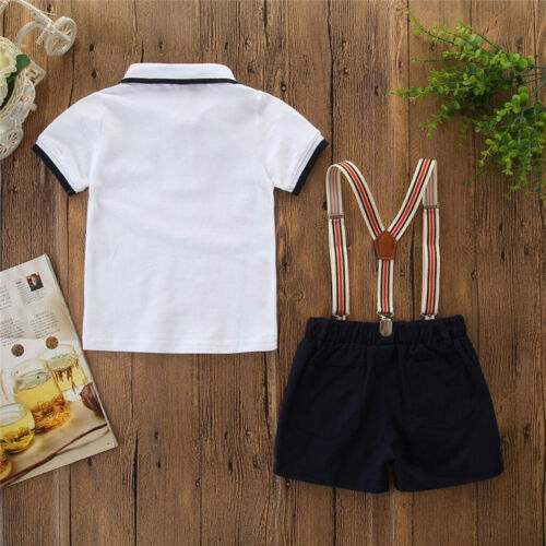 Toddler Kids Baby Boys Outfit Clothes Bow Tie Shirt+Shorts Gentleman Party Suit