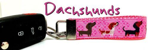 "Dachshund Key Fob Wristlet Keychain 1/""wide Zipper pull Camera strap handmade"