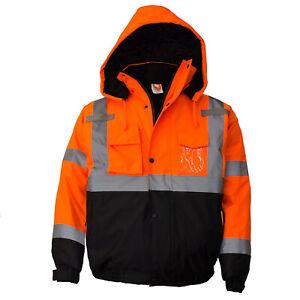 Class 3 Hi Viz Reflective Insulated Waterproof Winter Safety Jacket Wj9011 12 Ebay