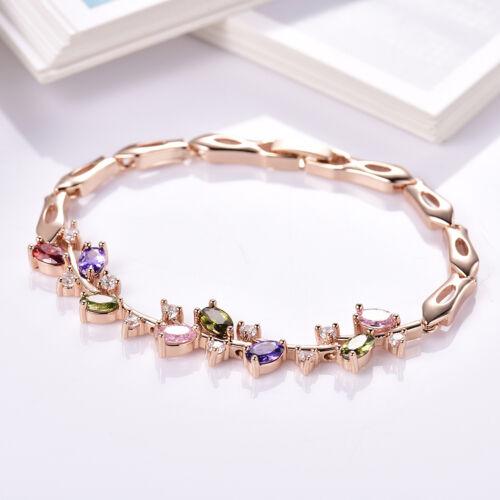 Luxury Colorful Topaz Crystal 18K Gold Filled Olive Branch Women Bracelet Bangle