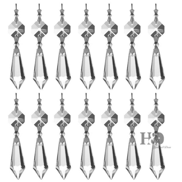 10 Clear Crystal Glass Chandelier Lamp, Chandelier Glass Drops Parts