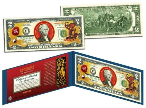 Colorized $2 Bill US Lucky Money New Lunar YEAR OF THE MONKEY Chinese Zodiac