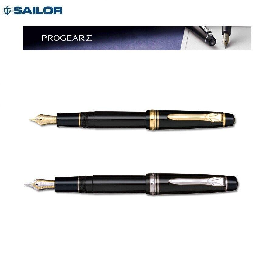 Sailor Professional Gear II Slim Fountain Pen Black Silver Trim 14k Fine Point for sale online