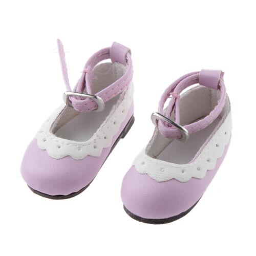 Paar runde Zehe flache Knöchelriemen Schuhe für 1//4 BJD Puppen hell lila