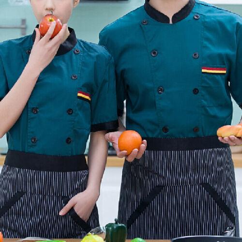 Durable Men Chef Uniform Work Wear Cooking Cotton Short Sleeve Shirt Jacket Tops