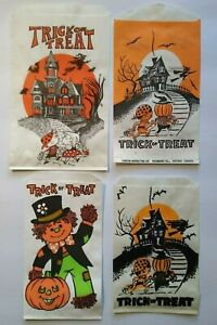 Vintage-Halloween-Trick-Or-Treat-Candy-Bags-Haunted-Houses-Scarecrow-Goblins