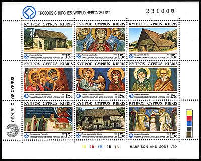 1987 Quality And Quantity Assured Unesco Welt Heritage Druckguss Kirchen Und Frescoes Mnh Zypern 686 S/s