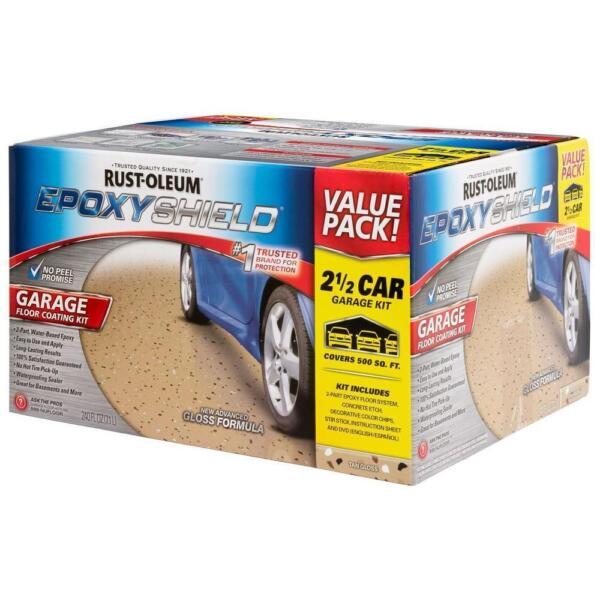 Tan 2 Part Epoxy Garage Floor Coating Paint Car Concrete
