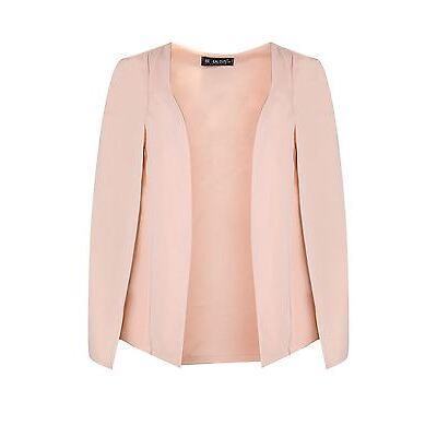 Women Open Front Sleeveless Side Split Ladies Double Layer Blazer Coat Cape Top