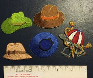 5 HAT PATCH LOT ~ Jacket Patches ~ Green, Brown, Blue, Cowboy Bonnet Jockey 5OVV