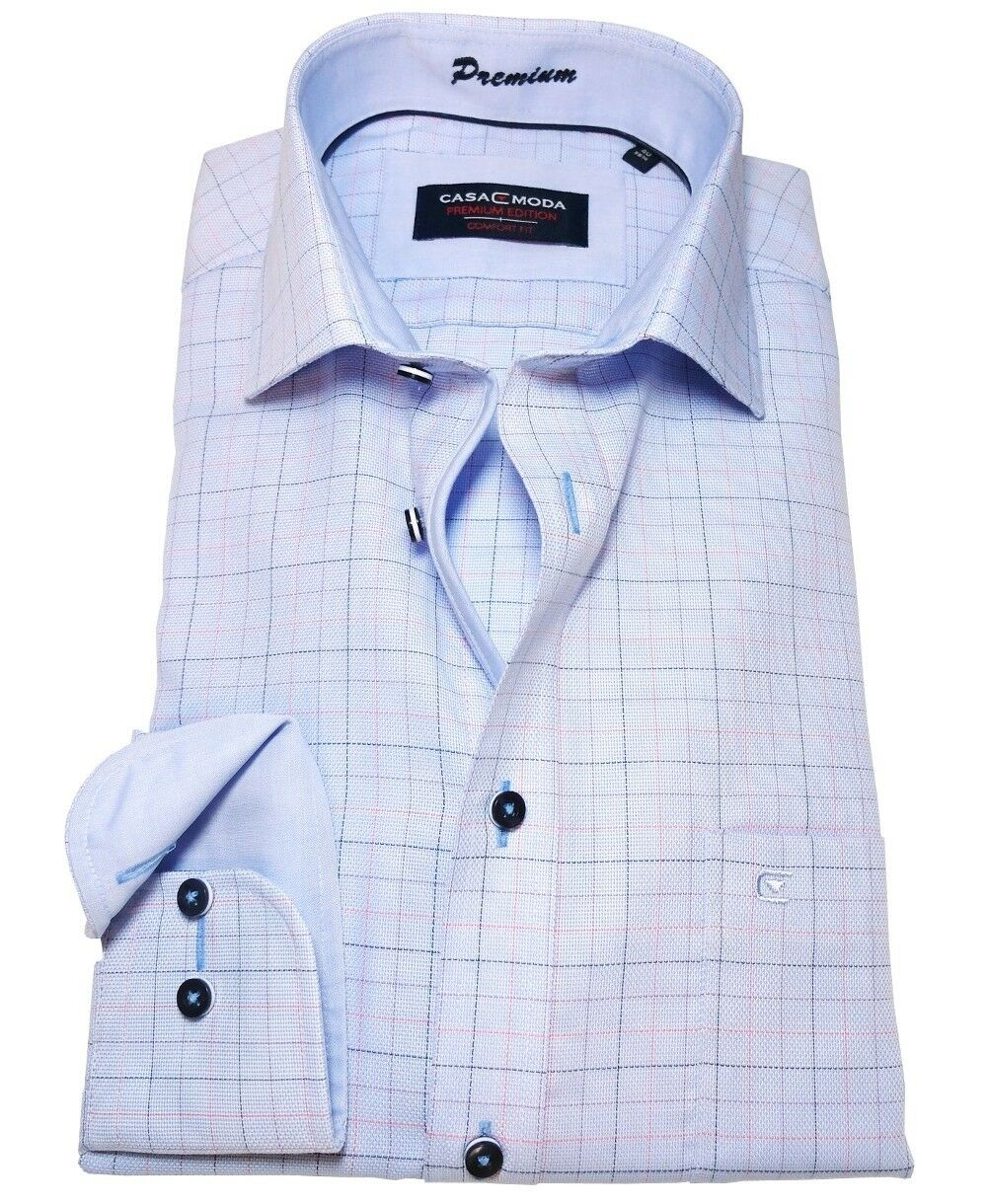 Casa Moda Comfort Fit Premium Langarmhemd Übergrösse Karo bügelfrei Gr. 40 - 56