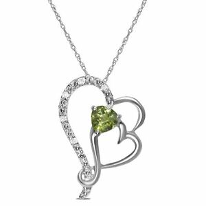 a8cb4b8ac3ed8 Ladies .05CT Diamond with Peridot Heart Necklace Pendant 10K White ...