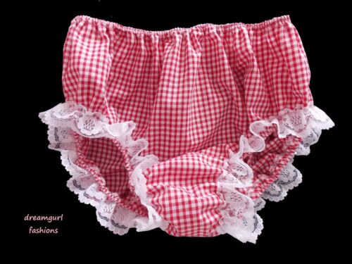 UNISEX COTTON LACE GINGHAM KNICKERS FANCY DRESS TV SISSY LOLITA COSPLAY