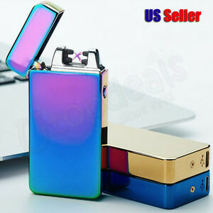 Double Arc Plain Windproof Flameless USB Rechargeable Clgarette Lighter