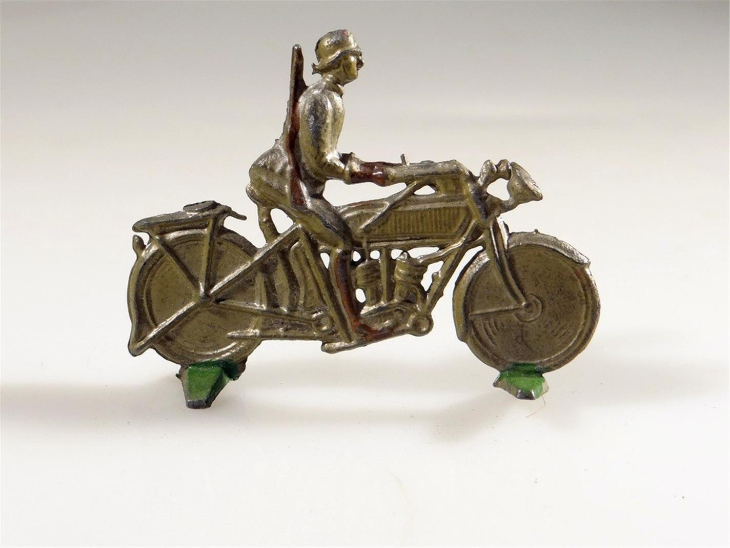 ANTIQUE CAST LEAD GERMAN ARMY MOTORCYCLE FIGURE