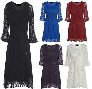 floreale maniche coordinata lunghe Dress in con pizzo con abbottonatura e Ladies paillettes PYqpfwEP