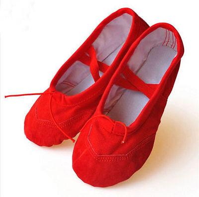 Canvas Mädchen Damen Erwachsene Ballett Tanzen Schuhe Pantoffeln Spitzenschuh