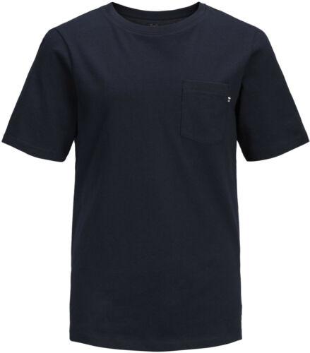 Jack /& Jones Junior Jungen T-Shirt Gr.128-176 kurzarm Basic unifarben dunkelblau