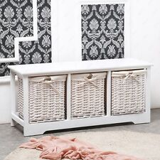 White Shabby Chic 3 Drawer Wood Cupboard Cabinet Table Wicker Basket Storage