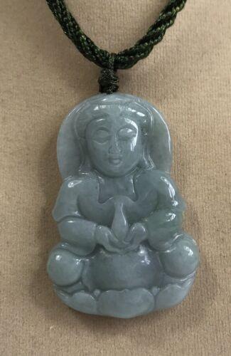 "Handcrafted knot work cord adjustable jade /""Kuan Yin/"" buddha pendant//necklace"