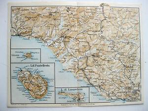 Stampa Antica Mappa Sicilia Agrigento Sciacca Ribera Pantelleria