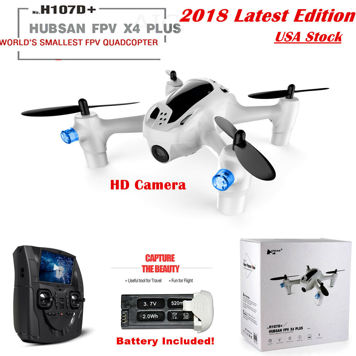 Hubsan X4 H107D+ Plus FPV Drone Mini RC Quadcopter 5.8G 480P LCD Monitor RTF USA