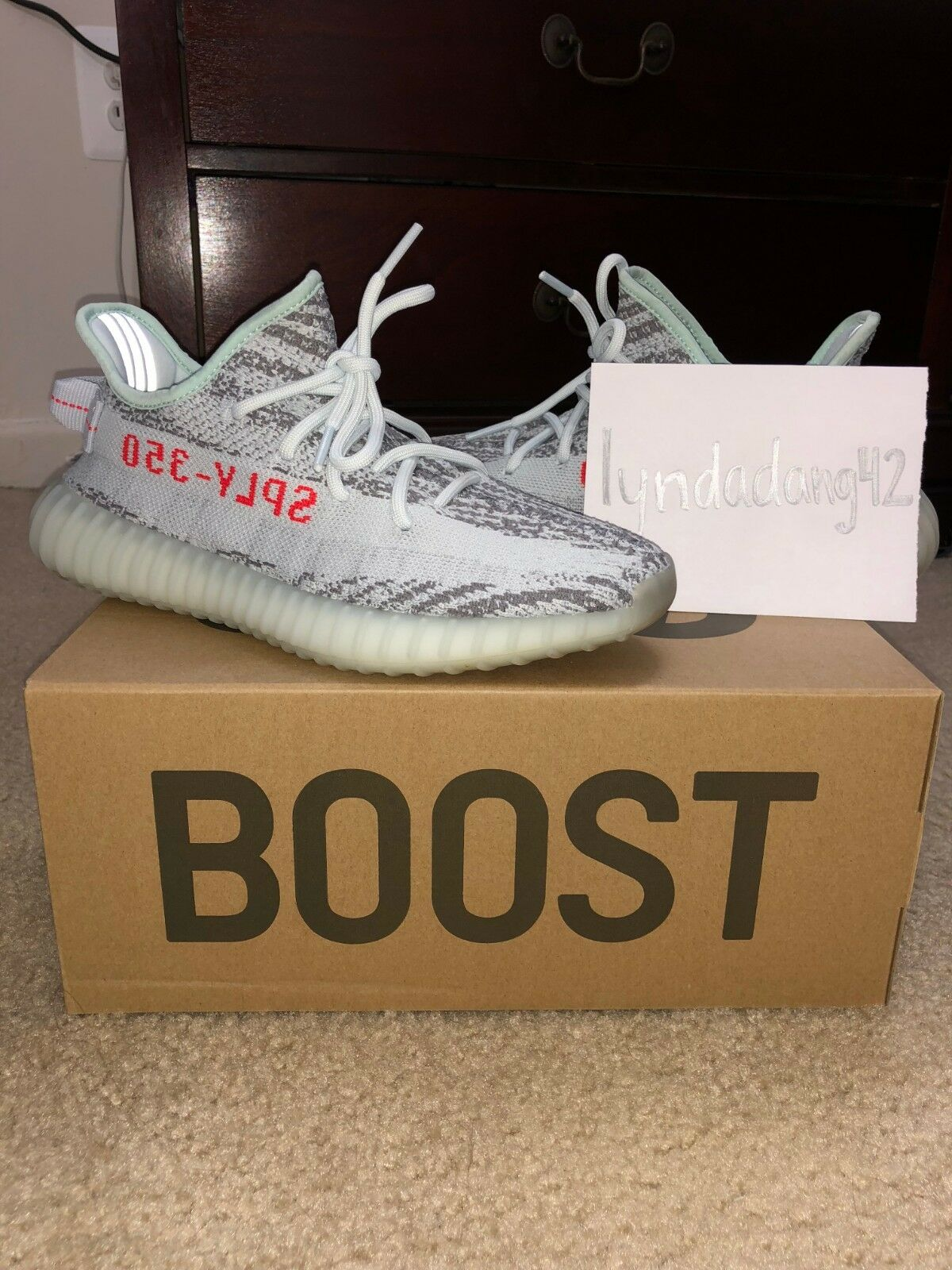 ADIDAS YEEZY BOOST 350 V2 blueE TINT SIZE 7.5 100% AUTHENTIC Conditon  9 10