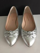LOEFFLER RANDALL Women's Shoes Silver MILLIE KNOT FLAT Size 10 , EUC in Box