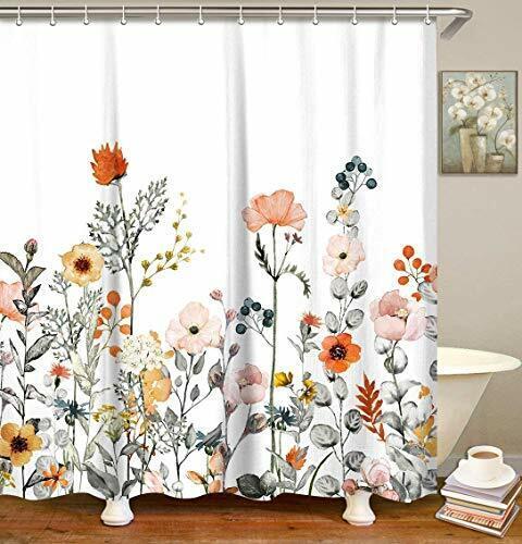 12 Hooks 72 x72in Bathroom Shower Curtain Misty Forest Decor Set Bath Curtains
