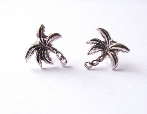 Palm Tree Fun /& Funky Stud Earrings 925 STERLING SILVER Excellent Quality