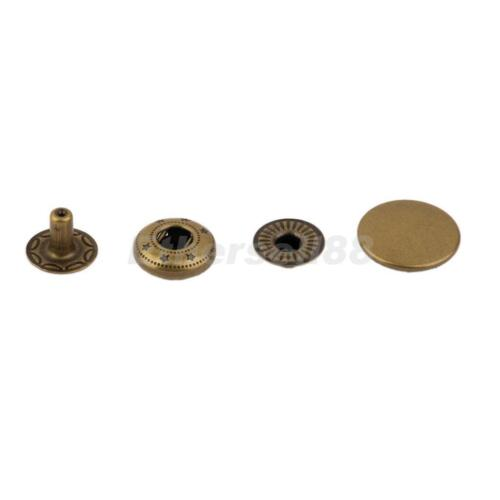 10 Sets Metal Snap Fastener Press Studs Buttons for DIY Leather Craft 15mm