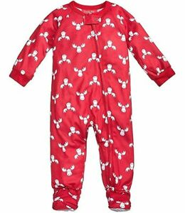 e9632d8da Family PJS Baby Boys Girls Moose-Print 1-Pc Footed Pajamas Red 18 ...