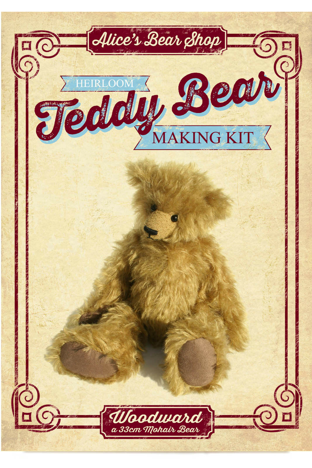Sewing a Teddy Bear - Mohair Teddy Bear Sewing Kit - Woodward - 33cm when made
