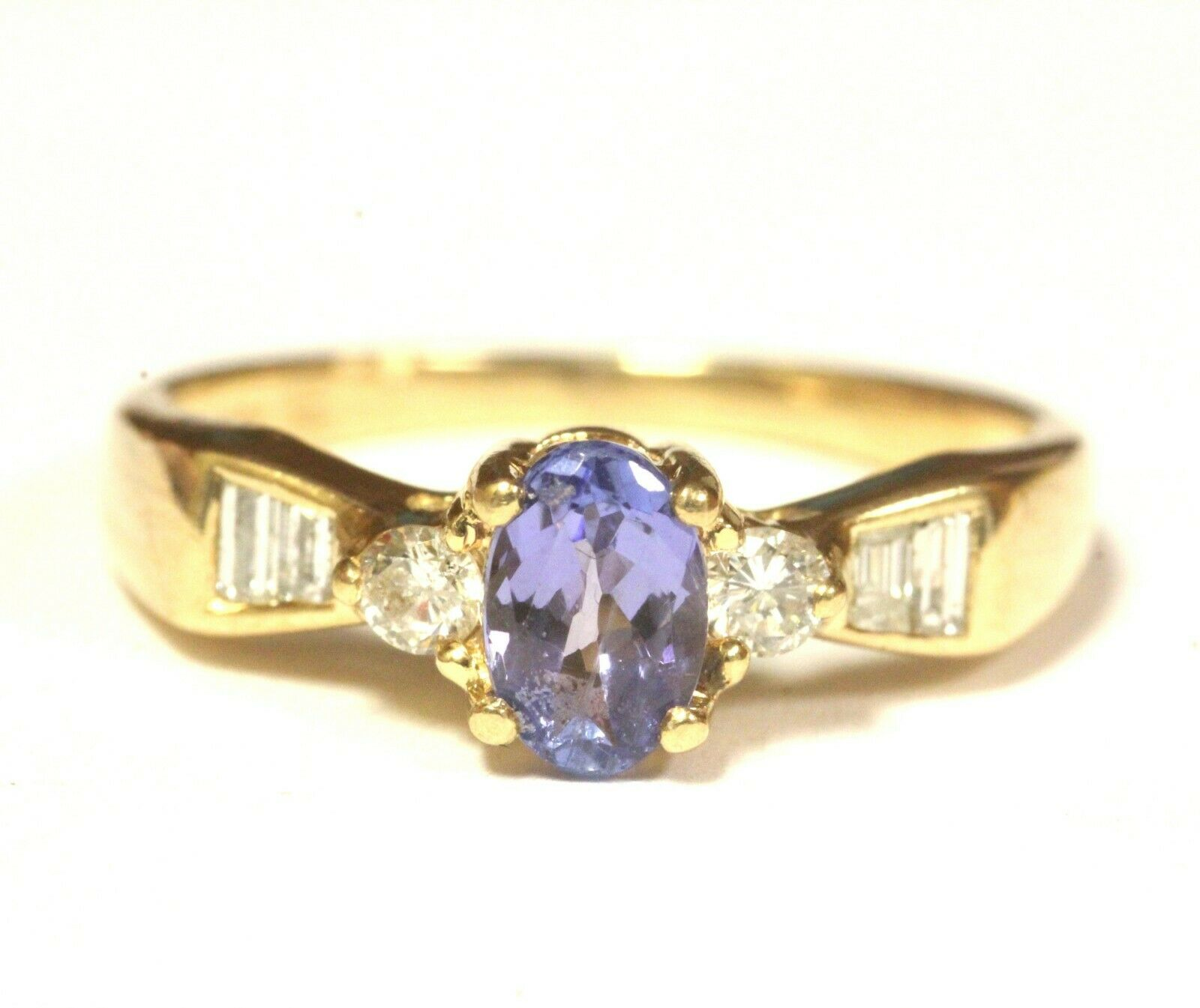 14k yellow gold .10ct SI1 G diamond oval tanzanite ring 2.4g estate womens