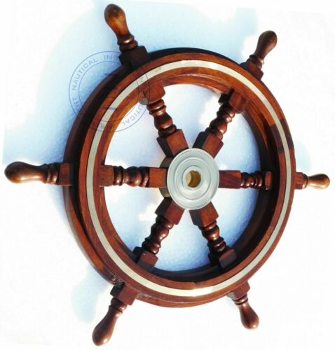 "18/"" Collectable Wooden Ship Wheel Pirate Captain Boat Steering Christmas Gift"
