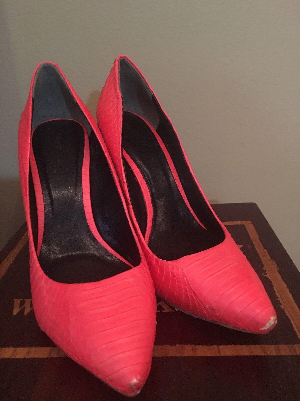 Rachel Roy Roy Roy Gardner Coral Rosa Orange Genuine Snakeskin Leather Pump schuhe Sz 7.5 951527