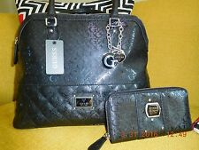 New GUESS 2 pcSET BAG WALLET Purse WARM WISHES COLLECTION SILVER Marciano CLUTCH
