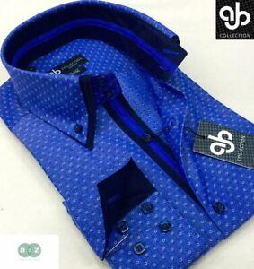 Nuevo-Para-Hombre-Formales-Smart-Casual-Calce-cenido-de-Diseno-Italiano-Azul-Doble-Cuello-Camisa