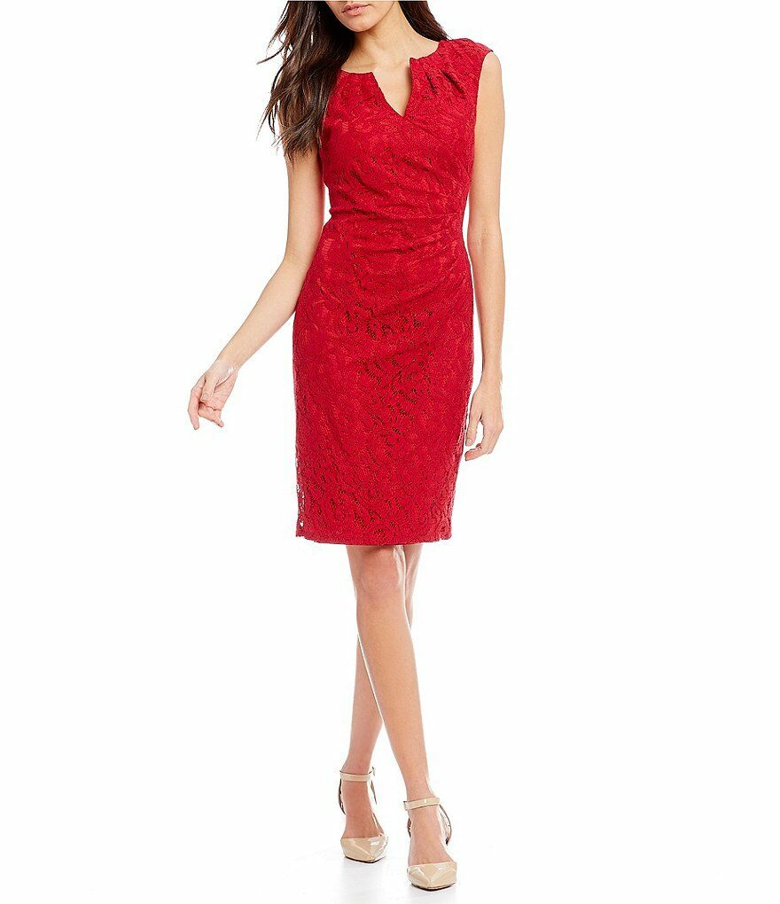 NWT- Adrianna Papell Fitted Lace Dress in Red, Size 4