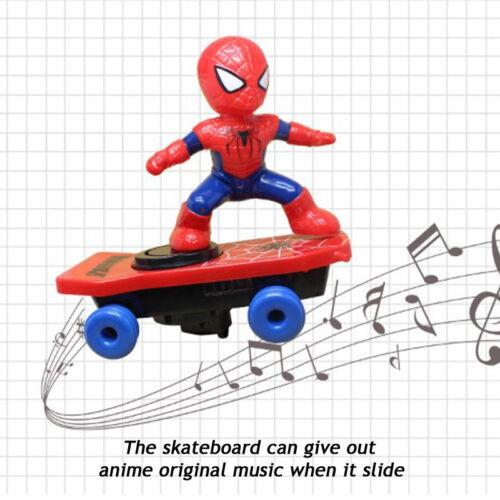 Spiderman elettronico Stunt Scooter Skateboard 360 ° rotazione ANIME Suono Bambini Giocattolo