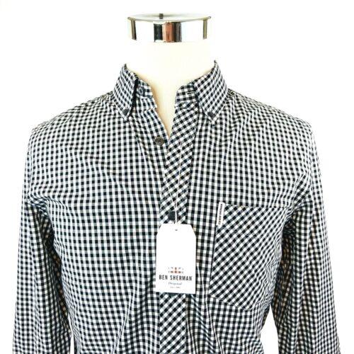 Ben Sherman Black White Check Long Sleeve Button Down Shirt Men S//M//L//XL//XXL NWT