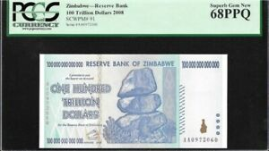 Zimbabwe : 100 Trillion Dollars (2008) P-91 PCGS 68 PPQ UNC