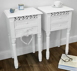 set of 2 bedside tables in white belgravia style bedside cabinet rh ebay co uk