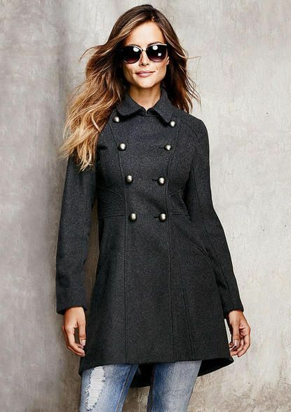 Alloy Apparel Women's Military Double Breasted Wool Wool Wool Blend Winter Peacoat - Large 74a181