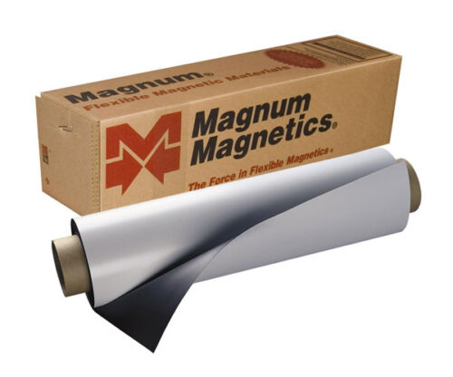 "24/"" x 60/"" Roll Magnum Magnetics 30 Mil Vehicle Magnets Blank White Sheet Car"